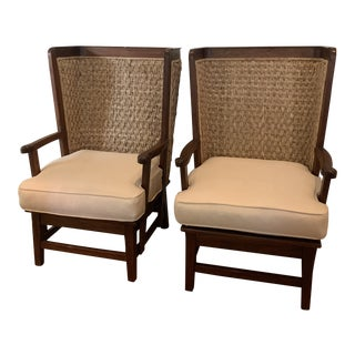 Ralph Lauren British Colonial Style Woven Back Armchairs - a Pair For Sale