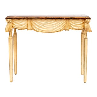 Hollywood Regency Carved Wood Drape and Tassel Console Table For Sale