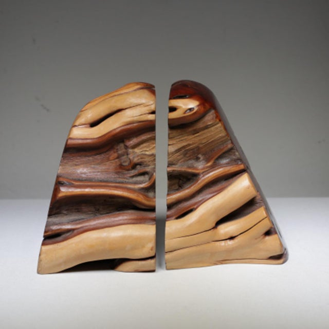1970s Live Edge Burl Wood Bookends - A Pair - Image 3 of 7