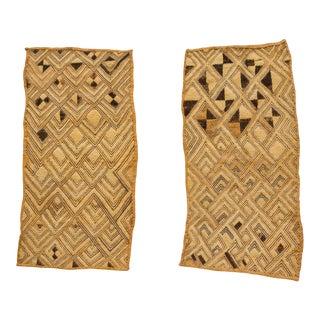 Amazing Pair of Antique Kuba Raffia Panels For Sale