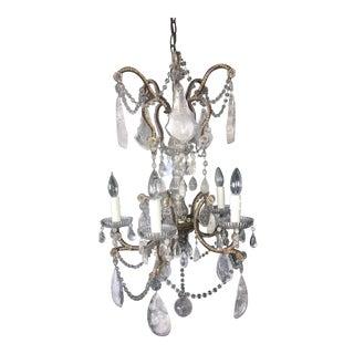 Neoclassical Italian Rock Crystal Five-Light Chandelier For Sale