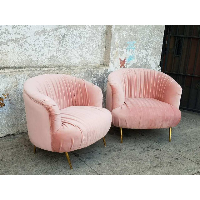 Vintage Pleated Pink Velvet Club Chairs with Brass Legs - A Pair ...