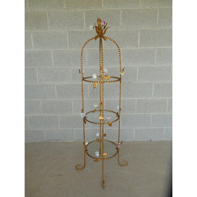 Hollywood Regency Vintage Italian Gilt Hand Painted Rose Petal Accented Etagere For Sale - Image 3 of 8