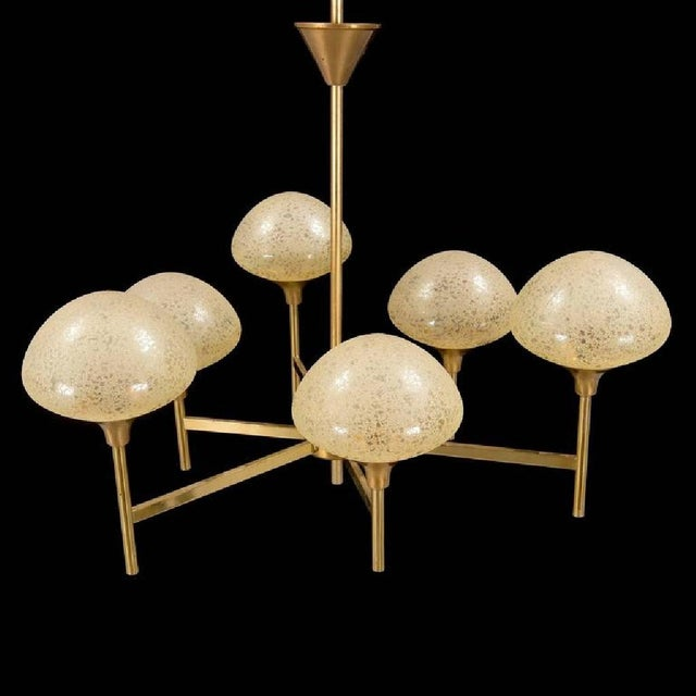 Mid-Century Modern Brass & Glass Chandelier, 1970s For Sale - Image 3 of 5