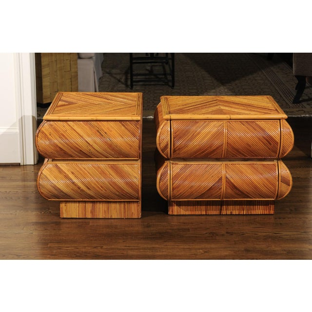 Magnificent Restored Pair of Bullnose Small Chests in Bamboo, Circa 1980 For Sale - Image 11 of 13