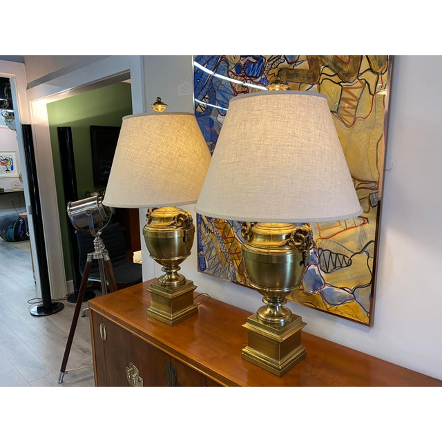 Mid-Century Modern Pair of 1970s Chapman Manufacturing Vintage Brass Lamps For Sale - Image 3 of 13