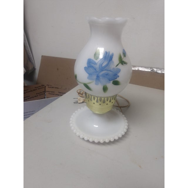 Vintage Hand Painted Milk Glass Lamp For Sale - Image 5 of 5