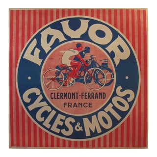 1930s French Art Deco Poster, Favor Cycles & Motos For Sale