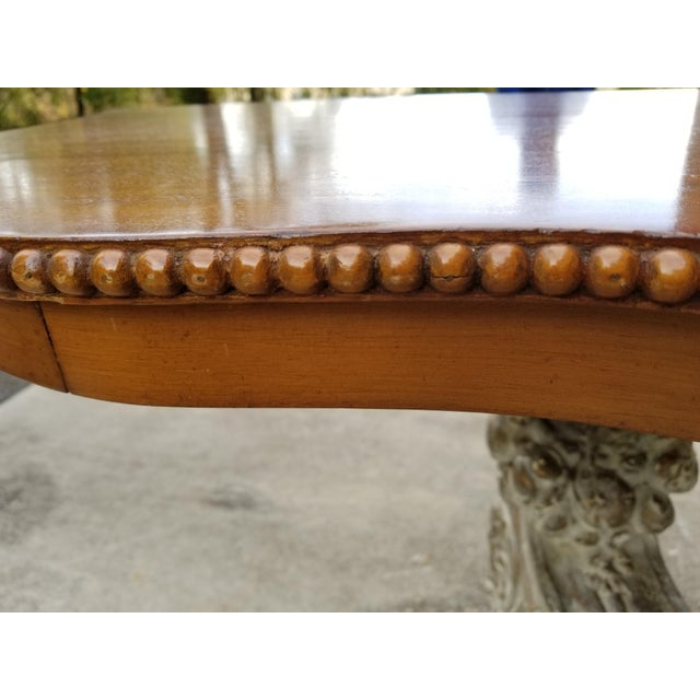 Antique French Carved Wood & Mahagony Console Table - Image 9 of 10