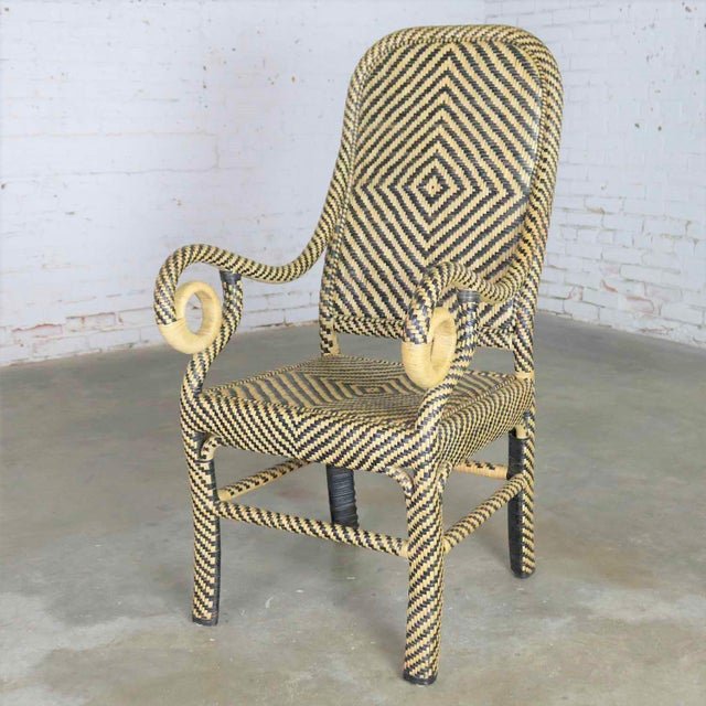 Mid 20th Century Two-Tone Chevron Pattern Rattan Wicker Tall Back Chair With Spiral Arms For Sale - Image 5 of 13