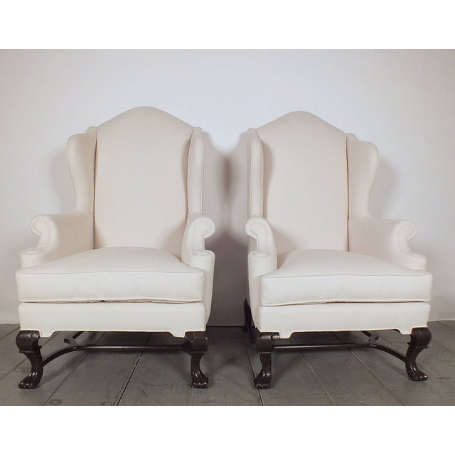 Traditional English Antique Wingback Chairs - Pair - Image 3 of 10