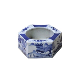 Chinese Blue & White Porcelain Graphic Hexagon Bowl Container