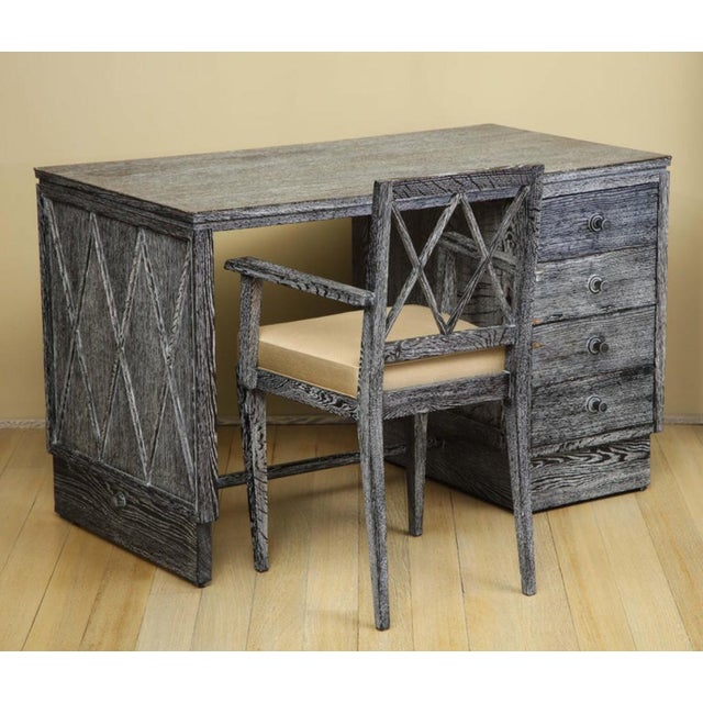 French Art Deco Cerused Oak Desk and Chair Set For Sale - Image 13 of 13