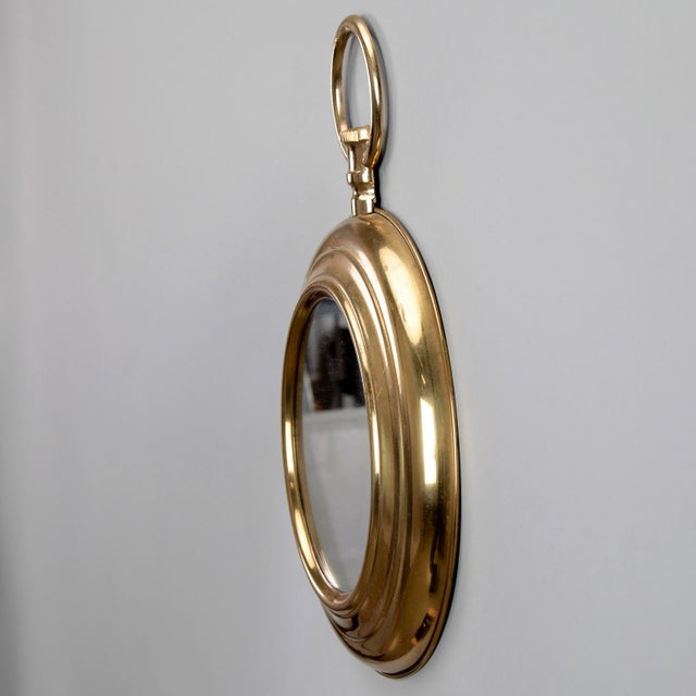 Small French Mid Century Brass Pocket Watch Wall Mirror For Sale - Image 4 of 7