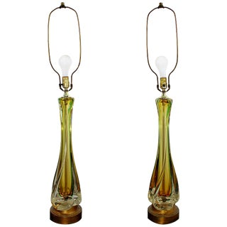 Mid-Century Modern Murano Seguso Glass Pair of Yellow and Green Table Lamps For Sale