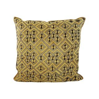 Vintage Embroidered Kuba Cloth Pillow