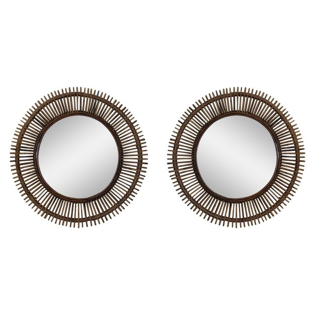 """Glass Contemporary """"Oculus"""" Round Rattan Mirrors - a Pair For Sale - Image 7 of 7"""