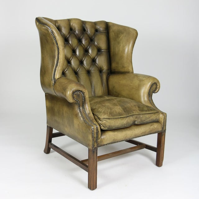 Georgian Late 19th Century Mahogany and Original Tufted Green Leather Wing Chair For Sale - Image 3 of 13