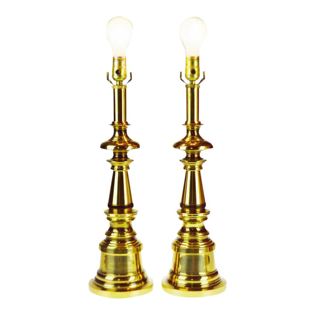 Vintage Brass Candlestick Table Lamps - a Pair For Sale