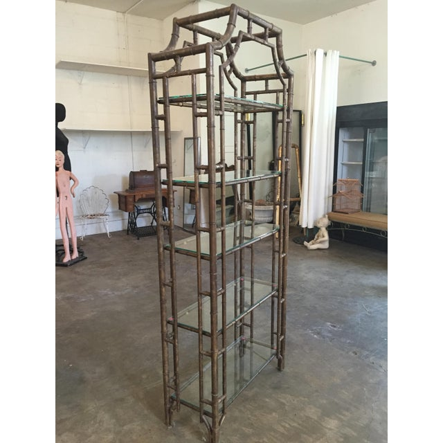 60s Vintage Hollywood Regency Faux Bamboo Bronze Patina Etagere - Image 4 of 9