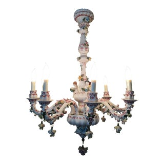 Antique Capodimonte 12 Arm Porcelain Chandelier With Putti and Flowers For Sale
