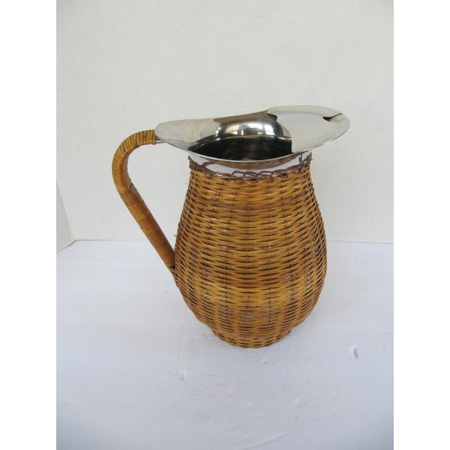 English Vintage Water Pitcher Wrapped in Wicker For Sale - Image 3 of 6
