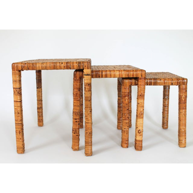 Mid 20th Century Boho Rattan Wrapped Nesting Tables S/3 For Sale - Image 5 of 10
