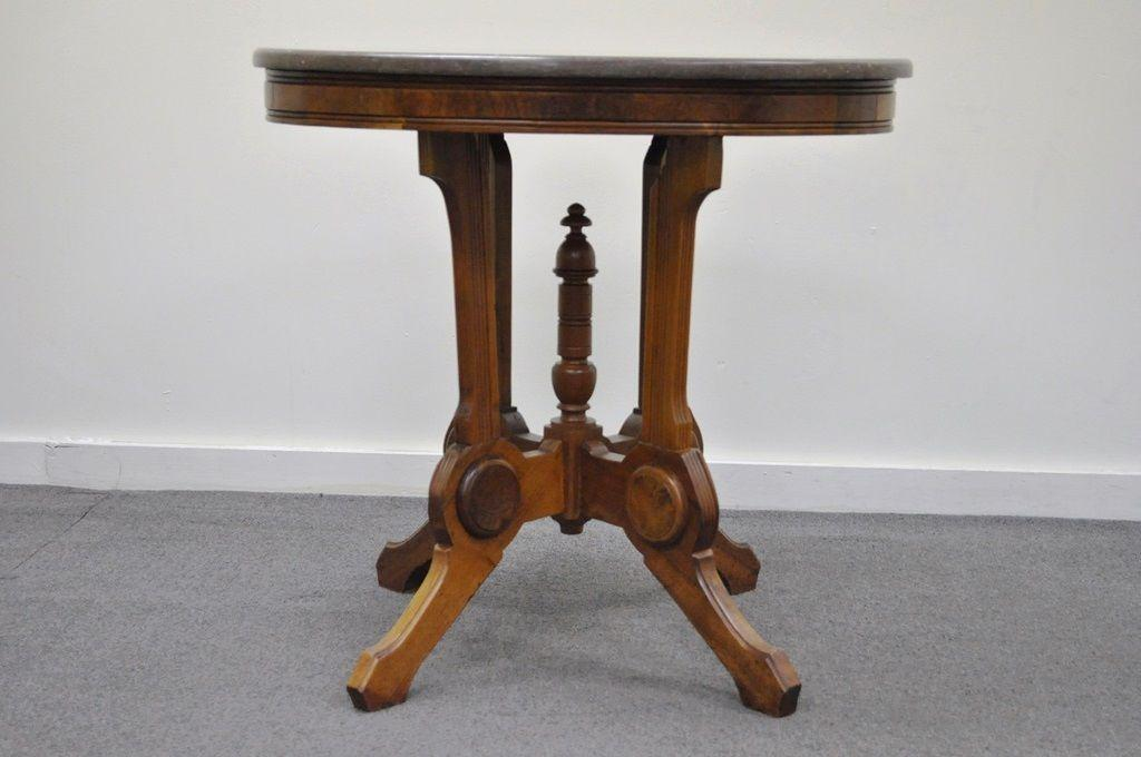 Etonnant Item: Lovely Antique Victorian Eastlake Oval Marble Top Carved Walnut  Occasional Side Table. The