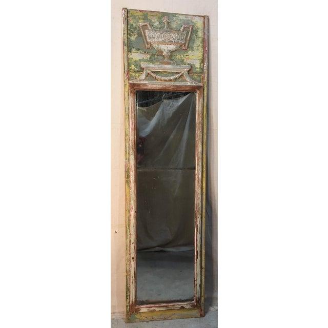 Antique White Louis XV Style Trumeau Mirror For Sale - Image 8 of 8