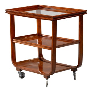 English Wooden Bar Cart or Tea Trolley With Removable Glass Tray For Sale