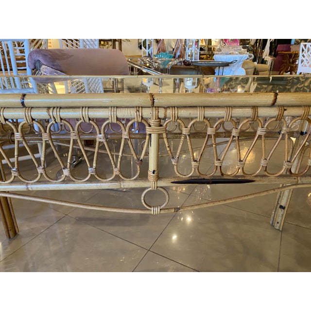 Vintage Tropical Palm Beach Rattan Glass Top Console Sofa Table For Sale - Image 4 of 12