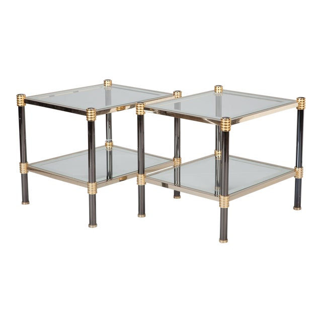 Pair Mid Century Chrome Brass and Glass Side Tables Attributed to Roche Bobois For Sale