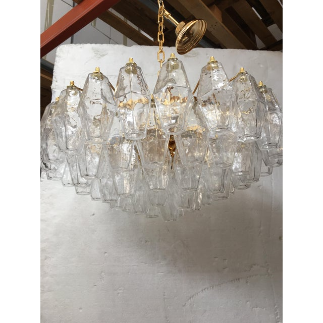 Metal Clear Poliedro Murano Glass with 24K Gold Frame Sputnik Chandelier For Sale - Image 7 of 10