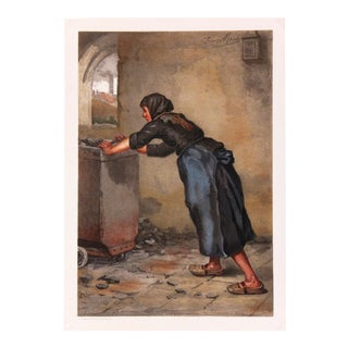 Antique Stone Lithograph - Working Woman, 1890