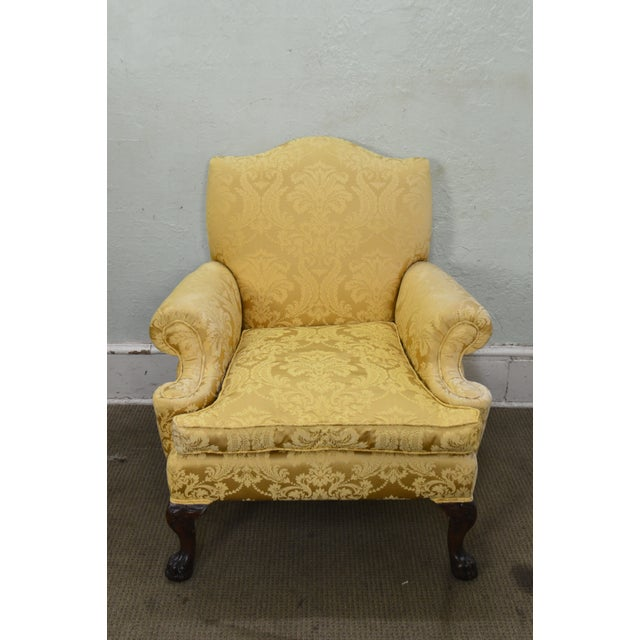 Georgian Style Custom Carved Mahogany Paw Foot Lounge Chair Bergere For Sale - Image 10 of 12