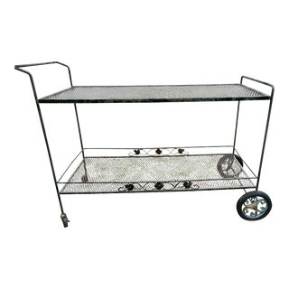 Danish Modern Wrought Iron Bar Serving Cart For Sale