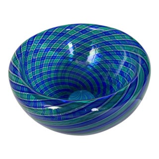 1970s Orlando Zennaro Murano Glass Double Walled Hollow Bowl With Blue and Green Swirl For Sale
