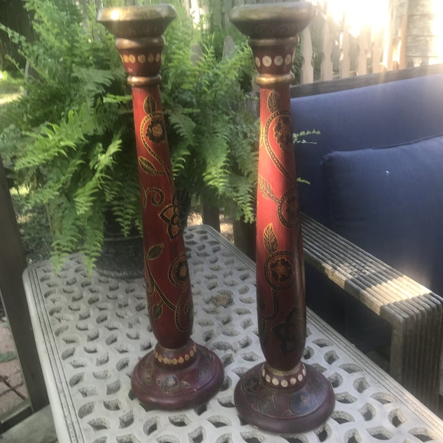 1990s Vintage Red Hand Painted Wooden Candle Pillars - a Pair For Sale - Image 5 of 8