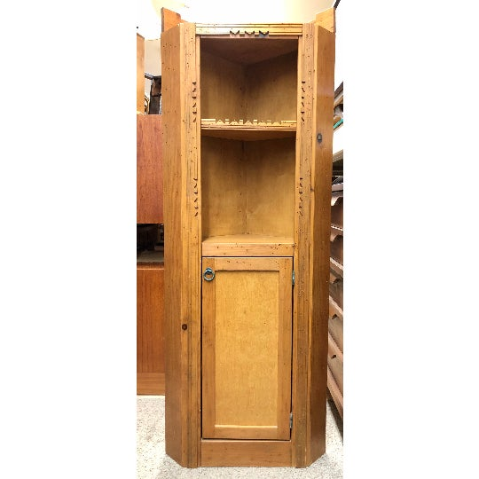Vintage Early 20th Century Arts and Crafts Wood Storage Corner Cupboard Cabinet Organizer Stand With Shelves For Sale - Image 4 of 4