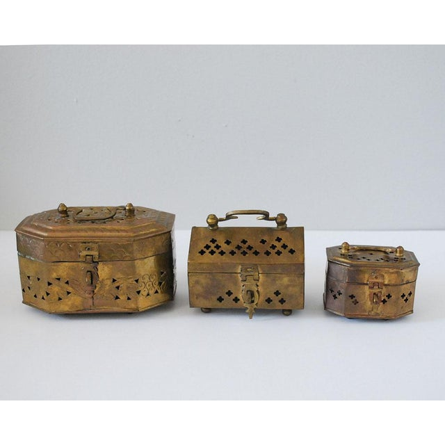 Rustic Vintage Indian Brass Cricket Boxes - Set of 3 For Sale - Image 3 of 8