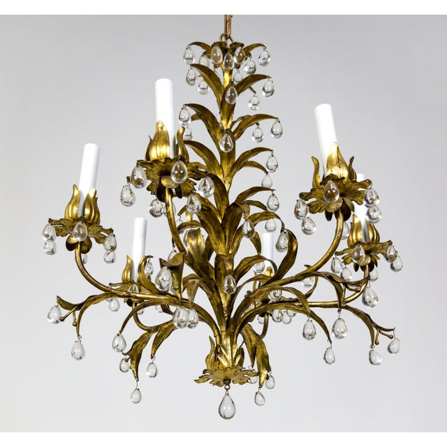 A whimsical, tole leaf and grape crystal, 6-light chandelier in Palm Beach Style - late Hollywood Regency. A truly...