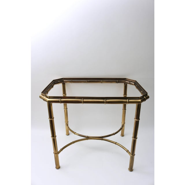 Hollywood Regency Mastercraft Faux Bamboo Tray Table in Antique Brass For Sale - Image 3 of 10