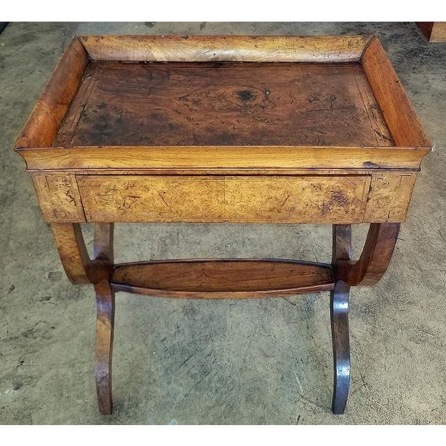 18c French Provincial Burl Walnut Lyre Work Table For Sale - Image 13 of 13