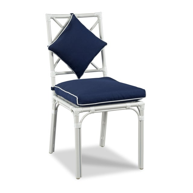 Traditional Haven Outdoor Dining Chair, Canvas Navy with Canvas White Welt, Set of Four For Sale - Image 3 of 4