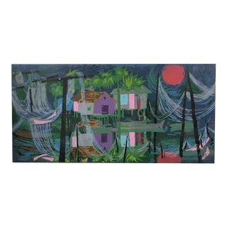 "Aileen Worthley Serigraph ""Blue Lagoon"""