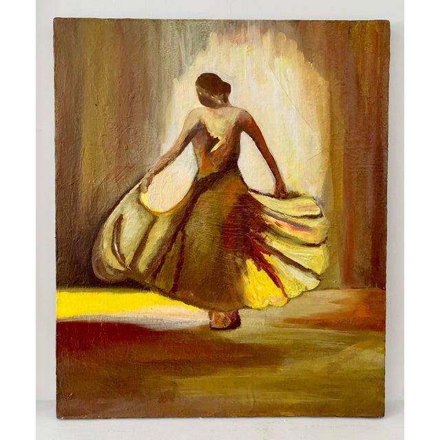 Canvas Vintage Female Dancer Portrait Oil on Canvas Painting For Sale - Image 7 of 8
