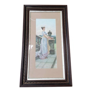 19th Century Elegant Woman Chromolithograph C.1890 For Sale