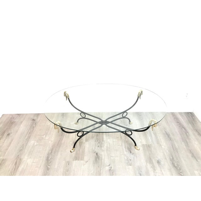 Hollywood Regency Brass & Iron Glass Top Coffee Table For Sale - Image 9 of 11
