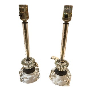 Crystal and Bronze Candlestick Lamps - a Pair For Sale