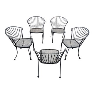 1970s Vintage Russell Woodard Iron Patio Chairs- Set of 5 For Sale